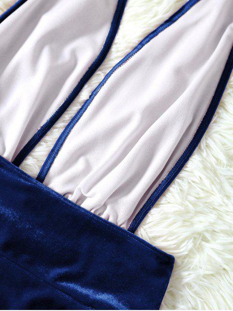 Maillot 1 Pièce en Velours Dos Ouvert - Bleu S Mobile