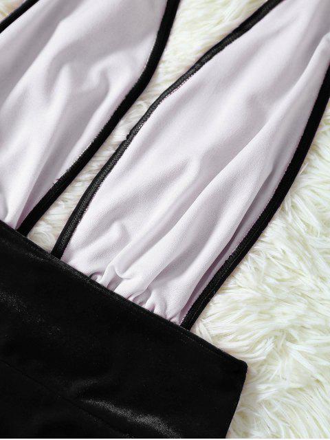 online Velvet Open Back One Piece Swimwear - BLACK S Mobile