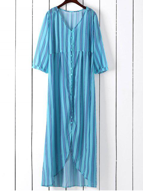 lady Vertical Stripe Maxi Shirt Dress - BLUE GREEN M Mobile