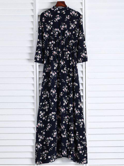 women's Floral Printed Fall Dress - BLACK L Mobile