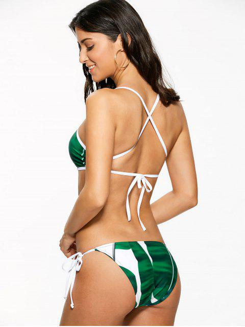 fashion High Neck Palm Leaf Print Bikini - GREEN M Mobile