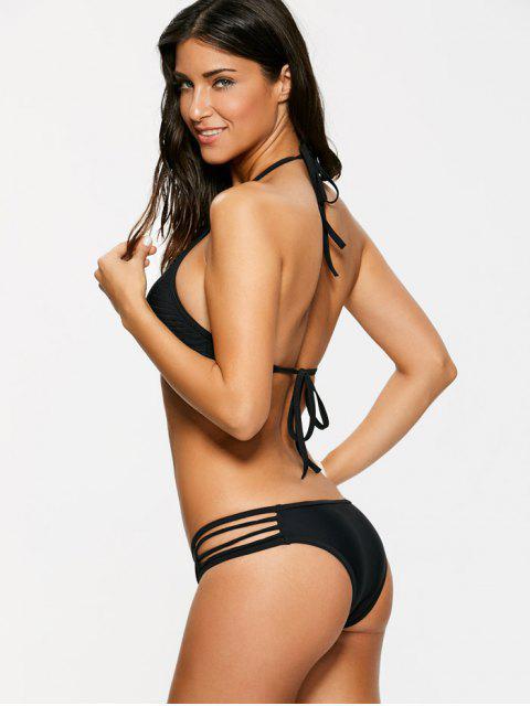 women's Sheer Stripe High Neck Bikini Set - BLACK L Mobile