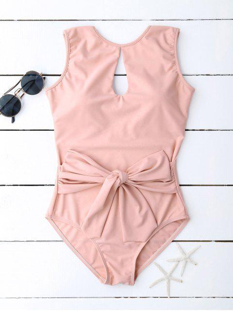 Bañador con Escote de Ojo de Cerradura con Nudo de Lazo - Rosado M Mobile