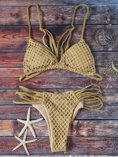 affordable Solid Color Spaghetti Straps Mesh Bikini Set - GREY OLIVE L Mobile