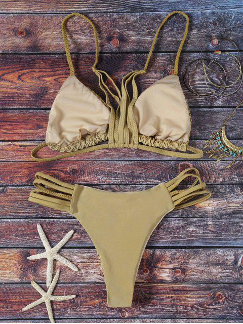 buy Solid Color Spaghetti Straps Mesh Bikini Set - GREY OLIVE M Mobile