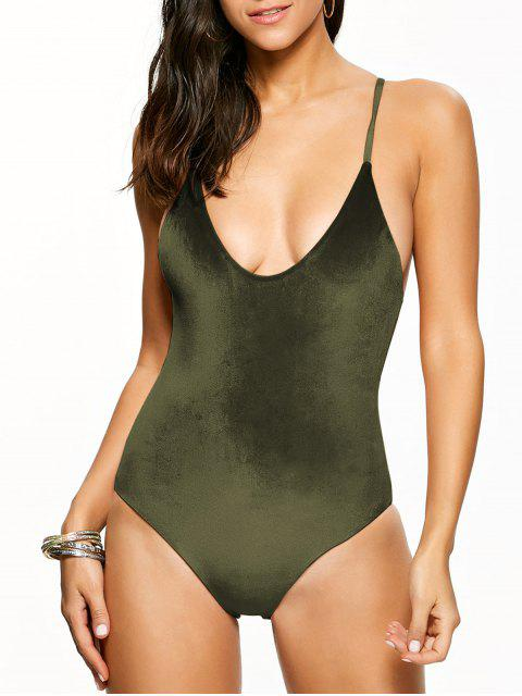 new Reversible Cross Back Pleuche Swimwear - BLACKISH GREEN L Mobile