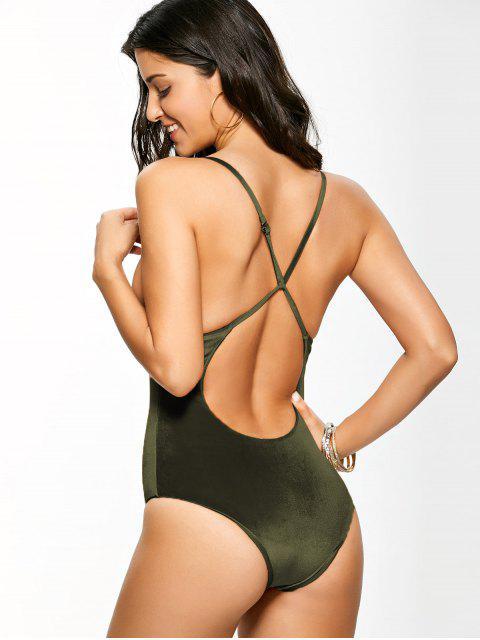 hot Reversible Cross Back Pleuche Swimwear - BLACKISH GREEN M Mobile