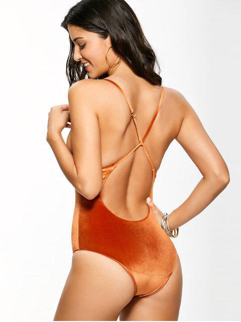 shop Reversible Cross Back Pleuche Swimwear - ORANGE L Mobile