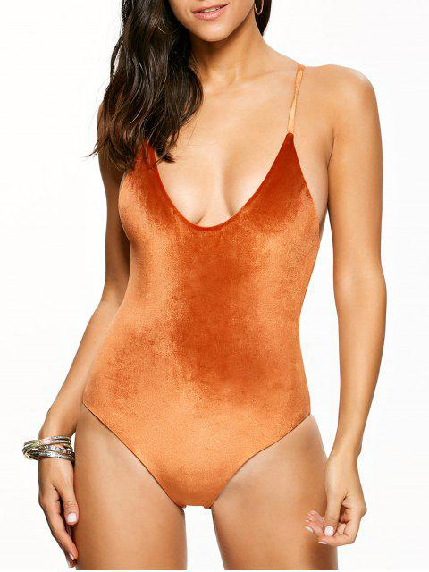 shops Reversible Cross Back Pleuche Swimwear - ORANGE M Mobile