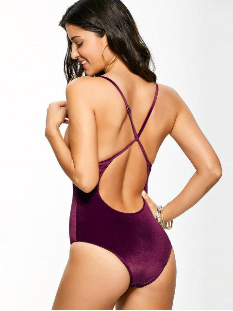 affordable Reversible Cross Back Pleuche Swimwear - PURPLISH RED S Mobile