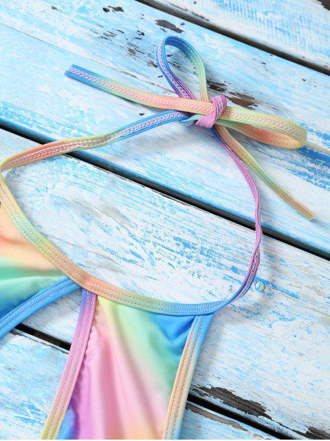 lady Halter Low Cut Tie Dye Cute Bathing Suit Top - MULTICOLOR M Mobile
