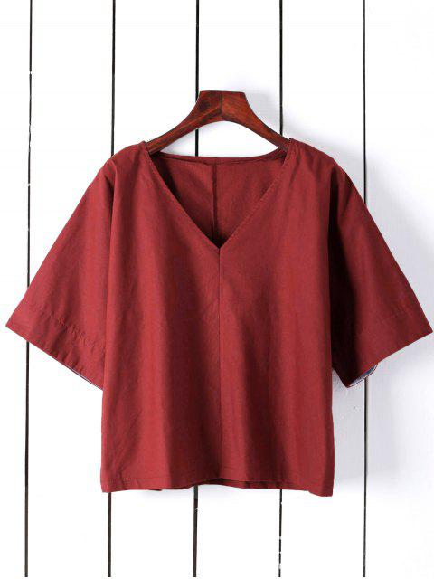 outfit Pure Color Plunging Neck Half Sleeve Blouse - RED XL Mobile