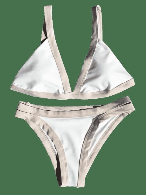 hot Plunge Bicolor Banded Bikini - LIGHT KHAKI M Mobile