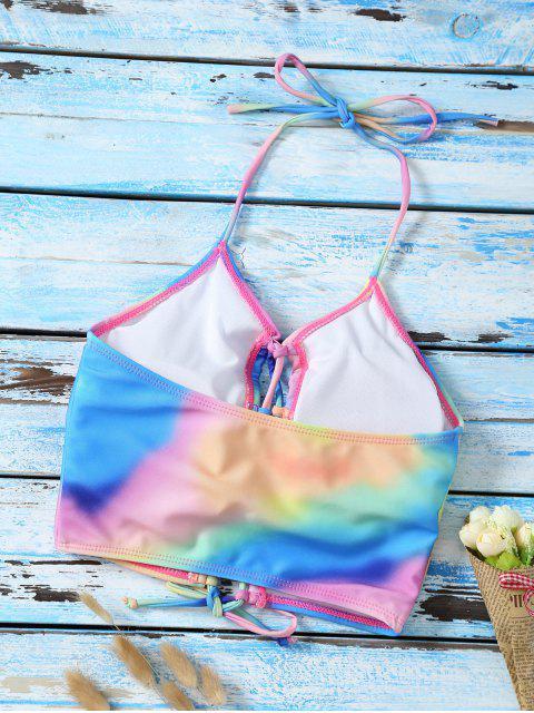 hot Lace Up Tie Dye Cute Bathing Suit Top - MULTICOLOR L Mobile