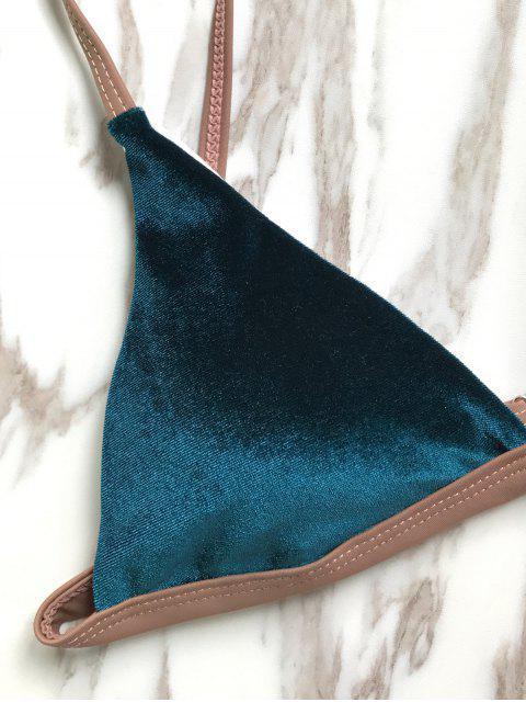 outfits Buckles Velvet High Cut Bikini - DEEP BLUE L Mobile