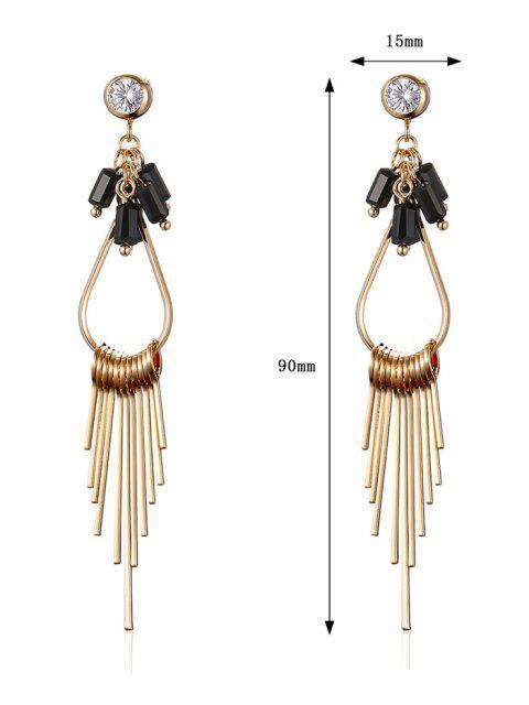 fashion Faux Gem Teardrop Fringed Drop Earrings - GOLDEN  Mobile