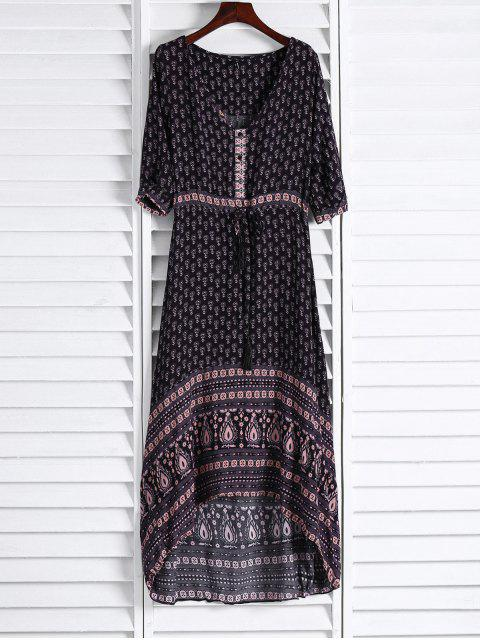 new Ethnic Print V Neck 3/4 Sleeve Maxi Dress - COFFEE S Mobile