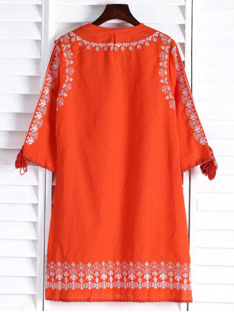 affordable Floral Embroidery Plunging Neck 3/4 Sleeve Dress - ORANGE L Mobile