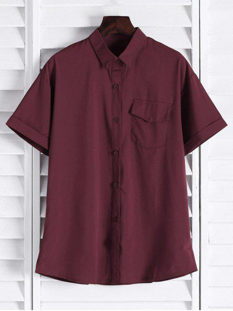 outfit Chest Pocket Short Sleeve Shirt - CLARET M Mobile