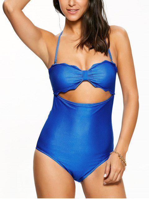 lady High Cut Bandeau Swimsuit - BLUE M Mobile