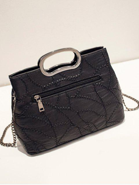 unique Stitching Rivet Handbag with Chains - BLACK  Mobile