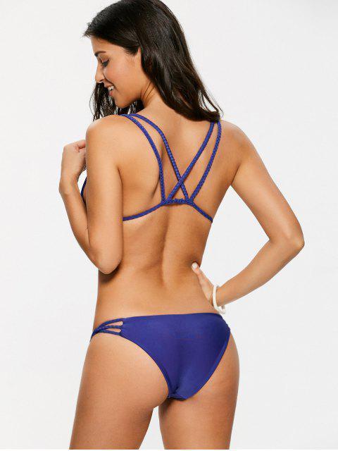 shops Braided Strappy Thong Bikini Set - DEEP PURPLE M Mobile