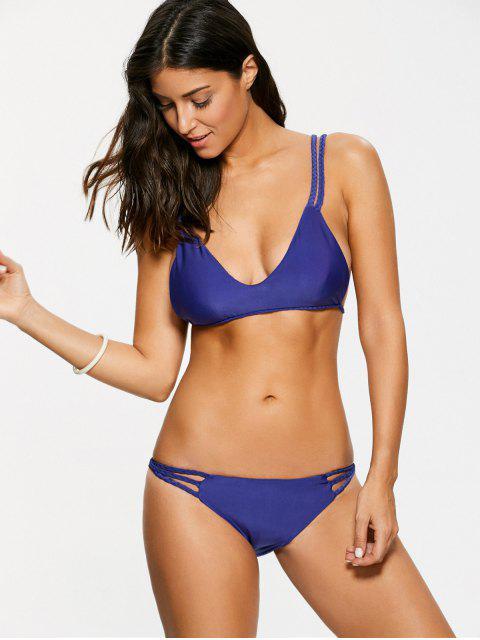 latest Braided Strappy Thong Bikini Set - DEEP PURPLE S Mobile