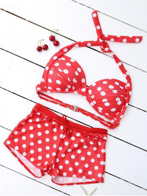 new Bandeau Polka Dot Push Up Padded Bikini Set - RED L Mobile