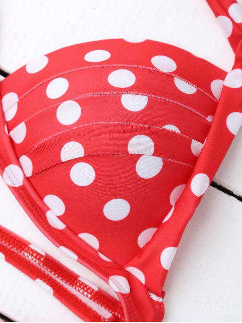 outfit Bandeau Polka Dot Push Up Padded Bikini Set - RED S Mobile