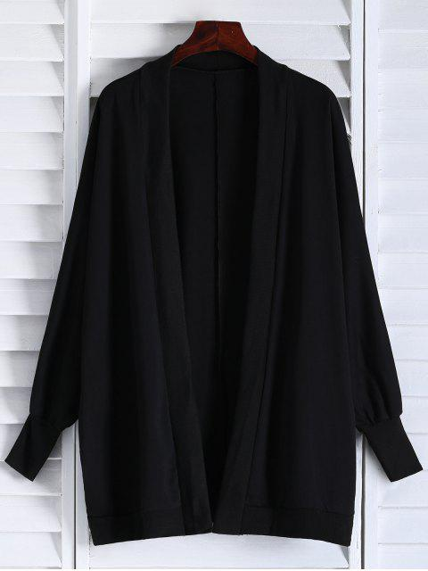unique Oversized Batwing Sleeve Coat - BLACK ONE SIZE Mobile