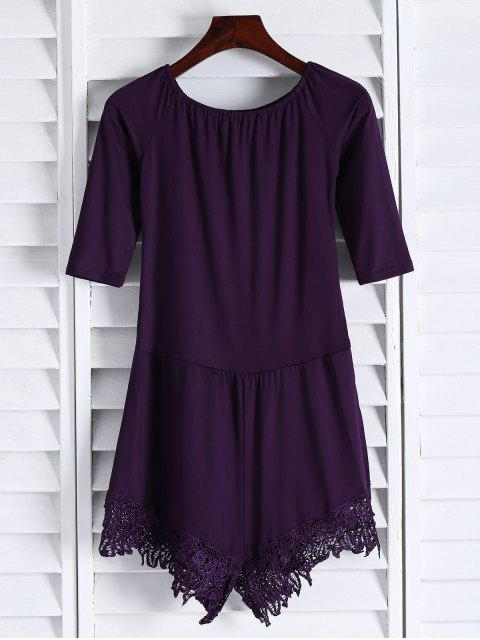 lady Off The Shoulder Romper - PURPLE S Mobile