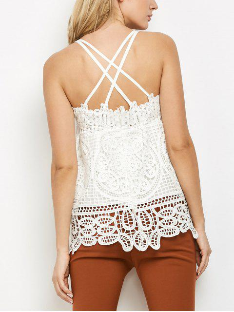 affordable Peplum Camisole Crochet Top - WHITE M Mobile