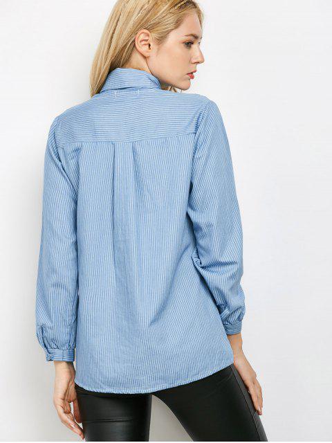ladies Pockets Loose Striped Shirt - BLUE M Mobile