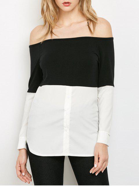 Top à color block aux épaules dénudées - Blanc et Noir S Mobile