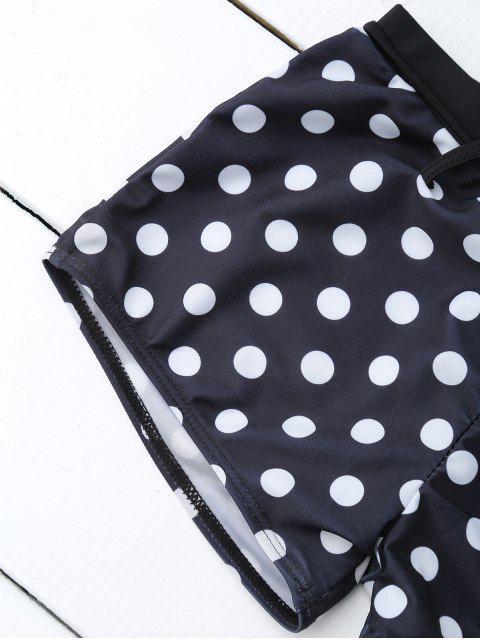 women's Bandeau Polka Dot Push Up Padded Bikini Set - BLACK XL Mobile