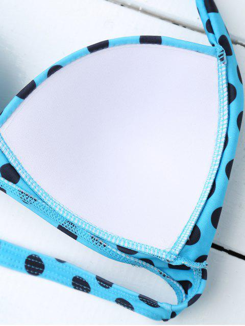 latest Bandeau Polka Dot Push Up Padded Bikini Set - LAKE BLUE S Mobile