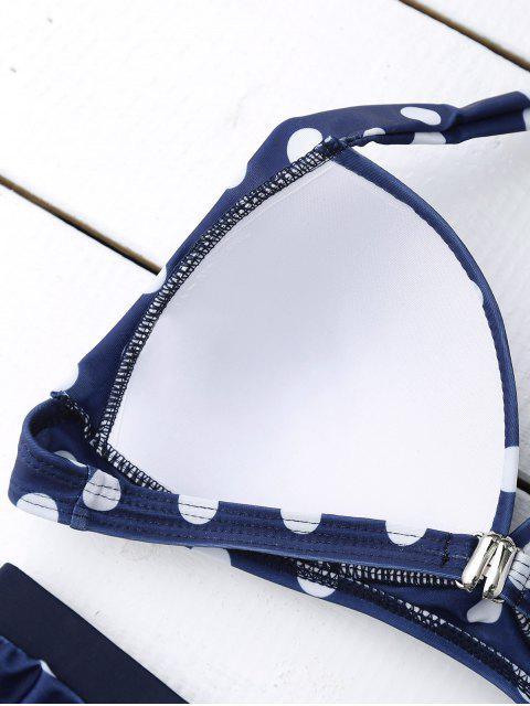 fashion Bandeau Polka Dot Push Up Padded Bikini Set - BLUE L Mobile