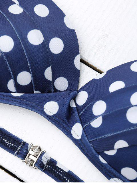 trendy Bandeau Polka Dot Push Up Padded Bikini Set - BLUE XL Mobile