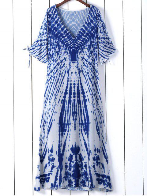 trendy Tie Dye Plunge Neck Split Sleeve Dress - BLUE S Mobile