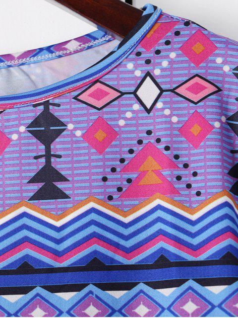 buy Long Sleeve Printed Shift Tunic Dress - BLUE M Mobile