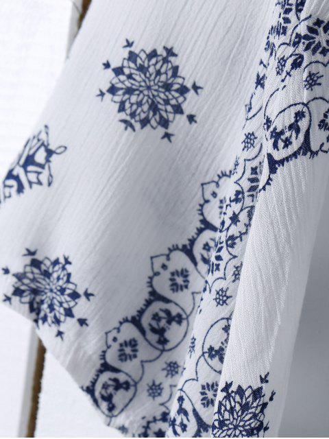 affordable Ethnic Print V Neck Long Sleeve Maxi Dress - WHITE S Mobile
