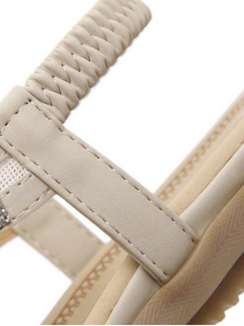 chic Elastic Band Rhinestones Mesh Sandals - APRICOT 41 Mobile
