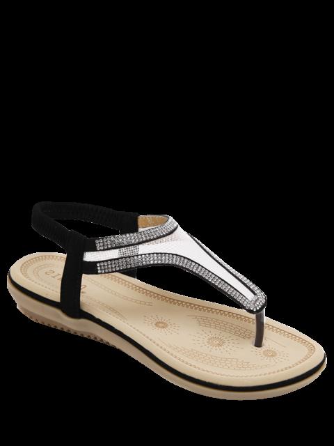 Sandalias de malla elástica Banda diamantes de imitación - Negro 39 Mobile