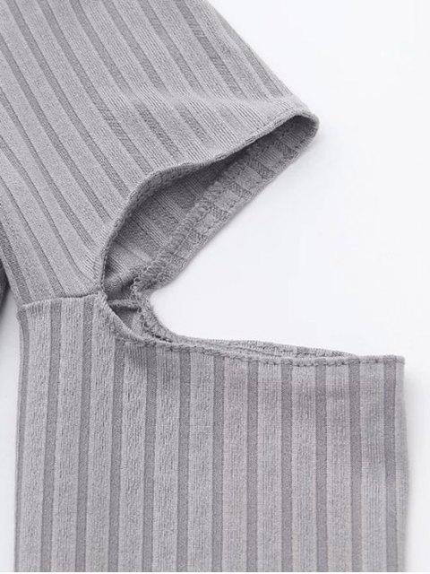 women Split Long Sleeve Layering Top - ARMY GREEN M Mobile