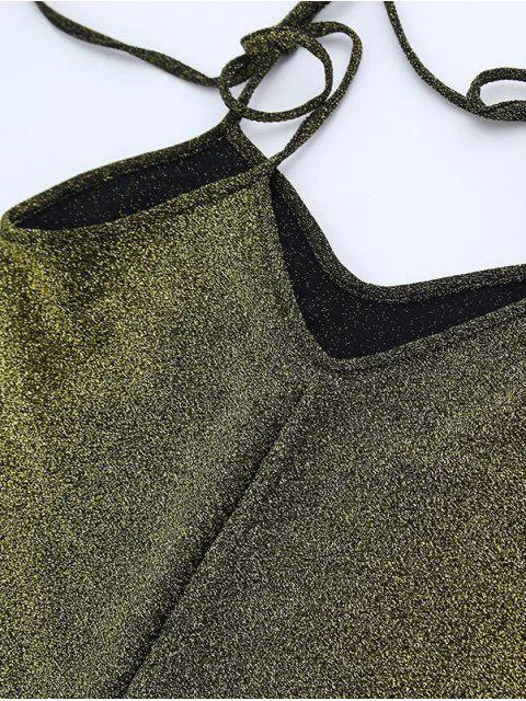 shop Glitter Tie Shoulder Slip Dress - GREEN M Mobile