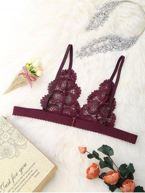 outfits Unlined Lace See Through Cami Bra - WINE RED M Mobile