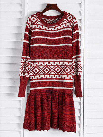 Geometric Pattern Long Sleeve Sweater Dress - Claret