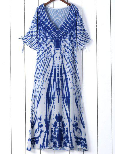 فستان مصبوغ التعادل غارق الرقبة انقسام الأكمام - أزرق S
