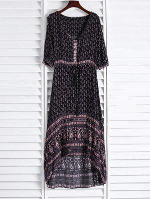 Ethnic Print V Neck 3/4 Sleeve Maxi Dress - Coffee S