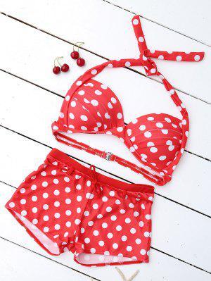 Bikini Paddé à Bandeau à Soutient-gorge Push Up Imprimé De Polka Dot  - Rouge Xl